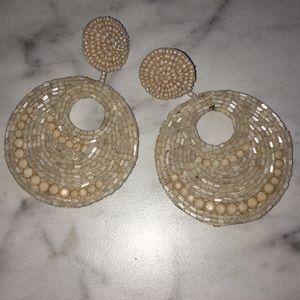 Kenneth Jay Lane Cream Beaned  Earrings